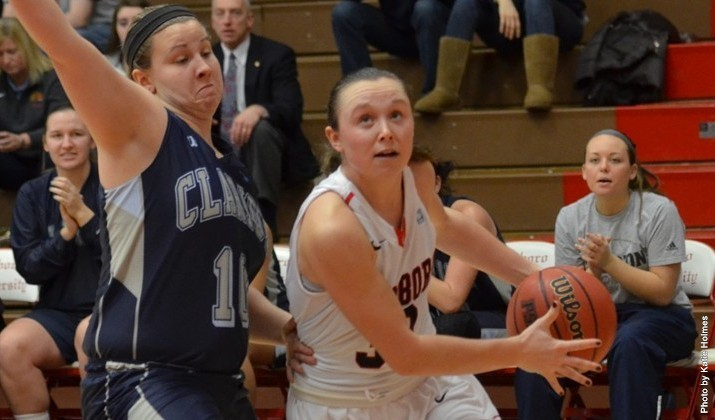 Val Majewski and the women's basketball team won eight straight games over winter break. -Contributed photo-Edinboro Sports Information.