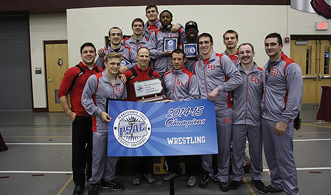 Edinboro wrestling won its fourth straight team PSAC championship, set records in the process.