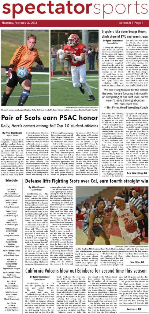 Front page of the sports section of the Feb. 5, 2015 issue of the Spectator.
