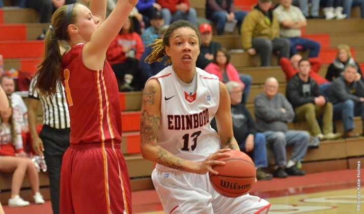 Aignee' Freeland (above) netted 1,000 career points on Feb. 11 against Slippery Rock in McComb Fieldhouse during a 79-56 win. (Contributed photo/Edinboro University Sports Information)