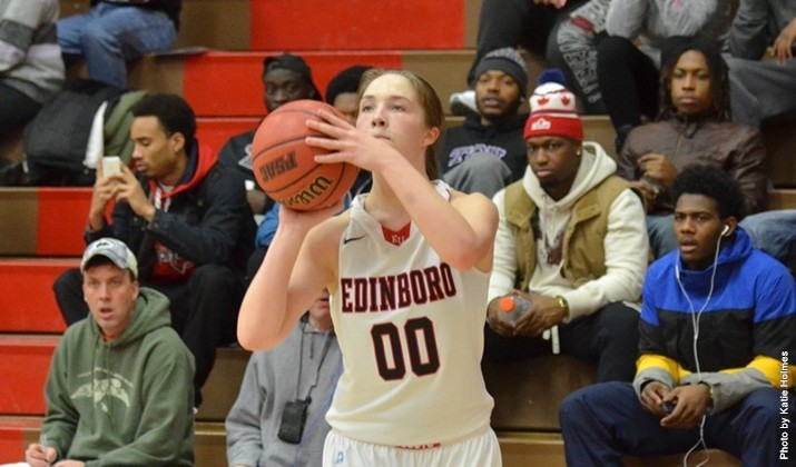 Despite a 30-point performance from Lauren Hippo (above), Edinboro fell to Indiana (Pa.), 91-81, Saturday in McComb Fieldhouse.