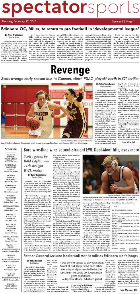 Front page of the sports section in the Feb. 12, 2015 issue of the Spectator.