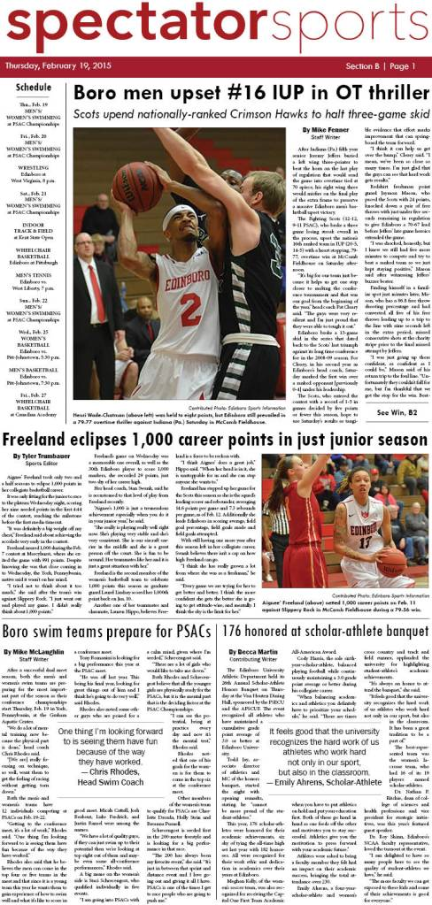 Front page of the sports section in the Feb. 19, 2015 edition of the Spectator.