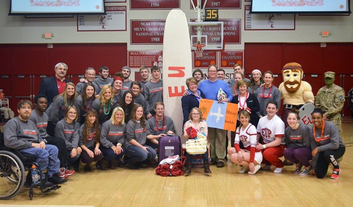 Eight-year old Isabella Linz of Meadville saw her wish come true on Wednesday with the help of Edinboro student-athletes. (Contributed photo/Edinboro Sports Information)