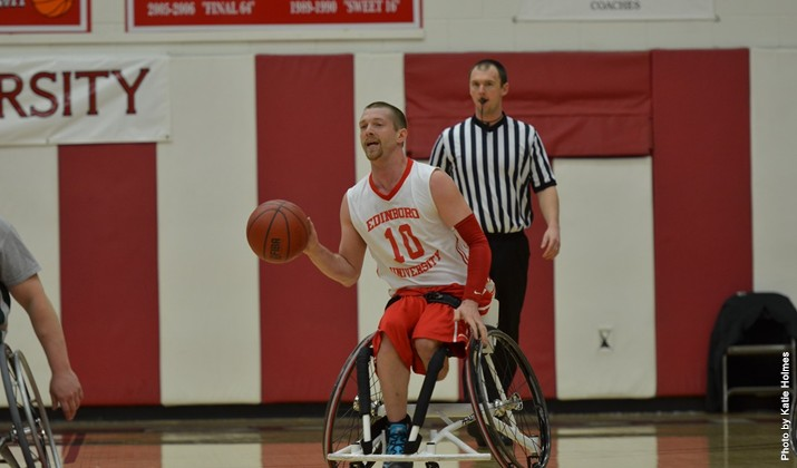 Junior Derek Strickland (above) and the Edinboro wheelchair basketball team went 2-2 at the Illinois tournament. (Contributed Photo/Edinboro University Sports Information).