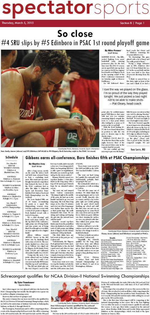The Edinboro University Spectator sports section first appeared in print on March 5, 2015.