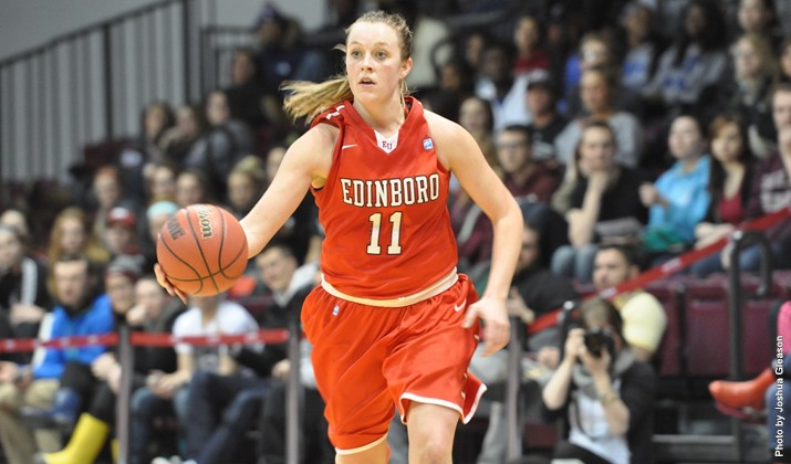 Laurel Lindsay (above) and Edinboro fell to Indiana (Pa.) in the PSAC quaterfinals Tuesday night. (Contributed photo/Edinboro University Sports Information)