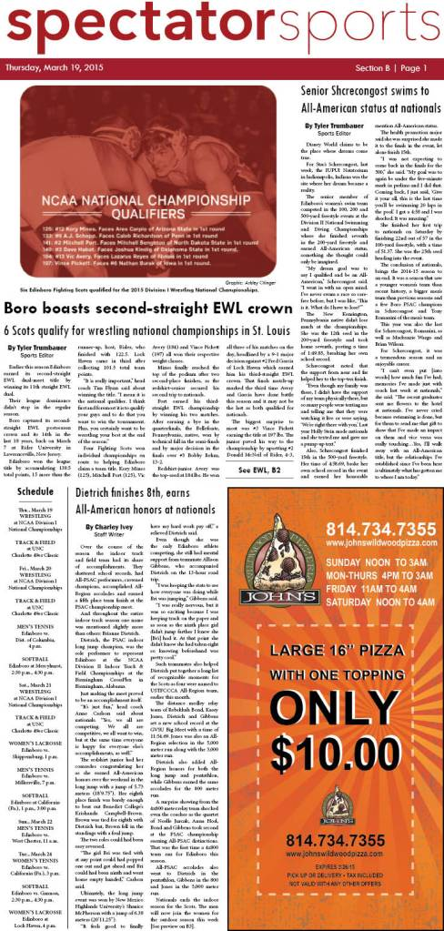 The Edinboro University Spectator sports section first appeared in print on March 19, 2015.