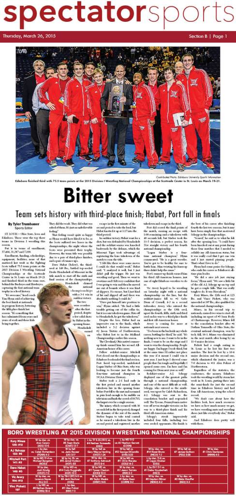 The Edinboro University Spectator sports section first appeared in print on March 26, 2015.
