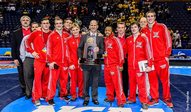 Edinboro finished third with 75.5 team points at the 2015 Division I Wrestling National Championships at the Scottrade Center in St. Louis on March 19-21 (Contributed Photo/Edinboro University Sports Information).