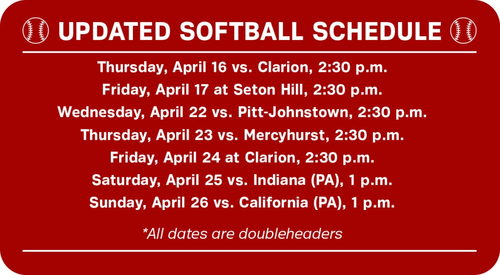 Rough weather has forced Edinboro softball to realign is regular season schedule (Graphic/Ashley Olinger).