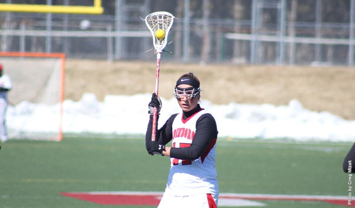 Rachel Olson (above) netted two goals in Edinboro's 10-6 loss to #8 Mercyhurst (Contributed Photo/Edinboro University Sports Information).