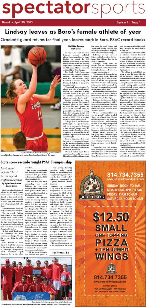 April 30, 2015 Spectator sports section front page.