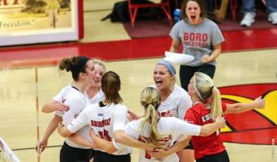 Haley Marett (right corner) brings her intensity for women's volleyball to her new position with Edinboro women's volleyball (Contributed/EU Sports Information).